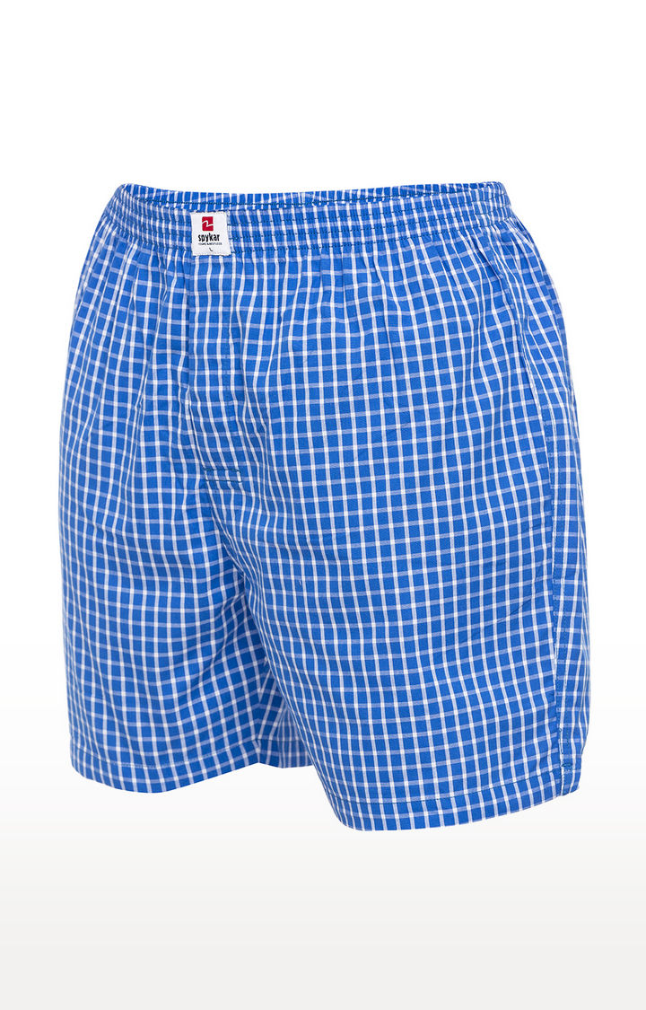 Blue Checked Slim Fit Boxers