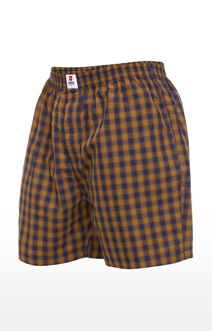 Khaki Checked Slim Fit Boxers