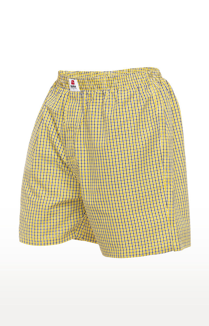 Yellow Checked Slim Fit Boxers