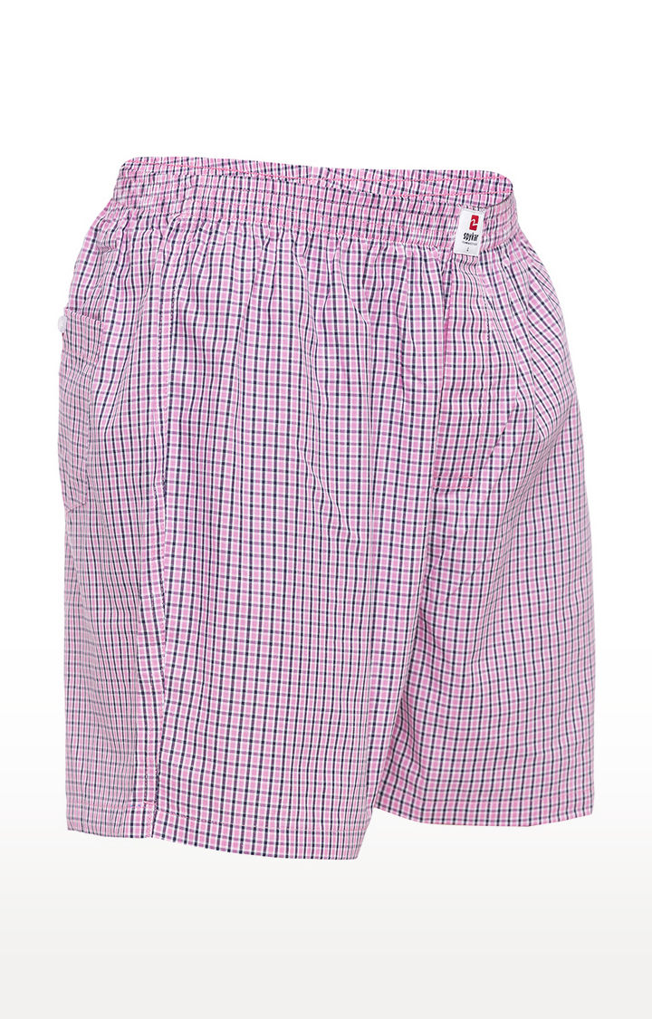 Pink Checked Slim Fit Boxers