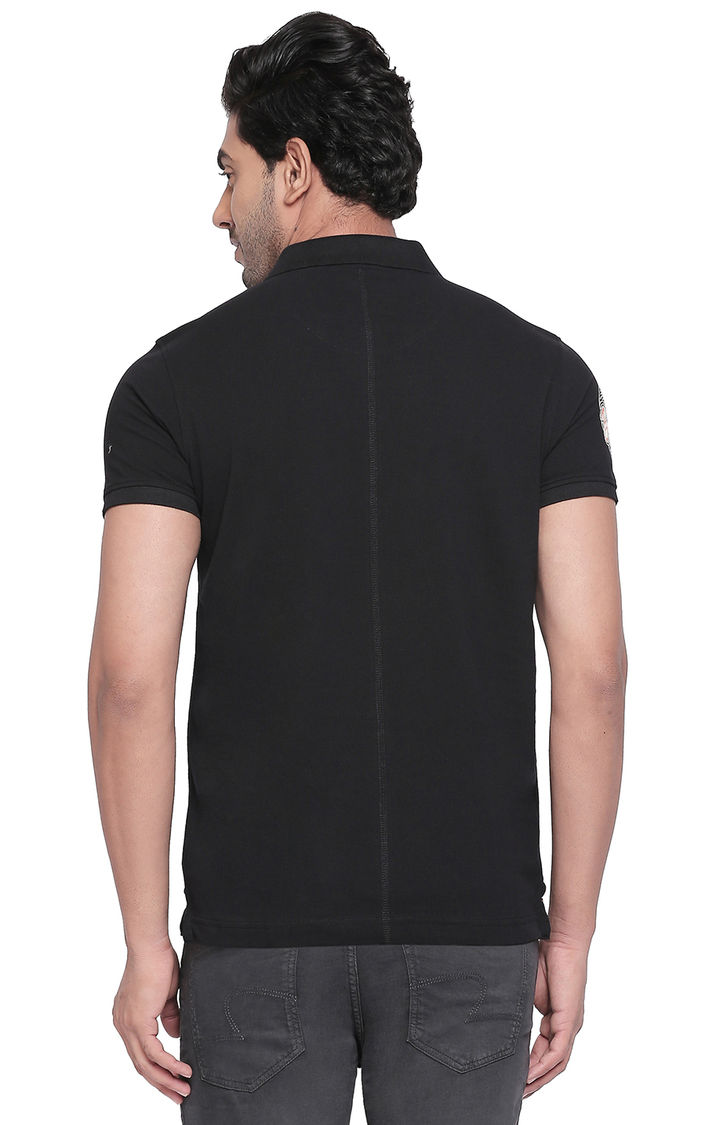 Jet Black Solid Slim Fit Polo T-Shirt