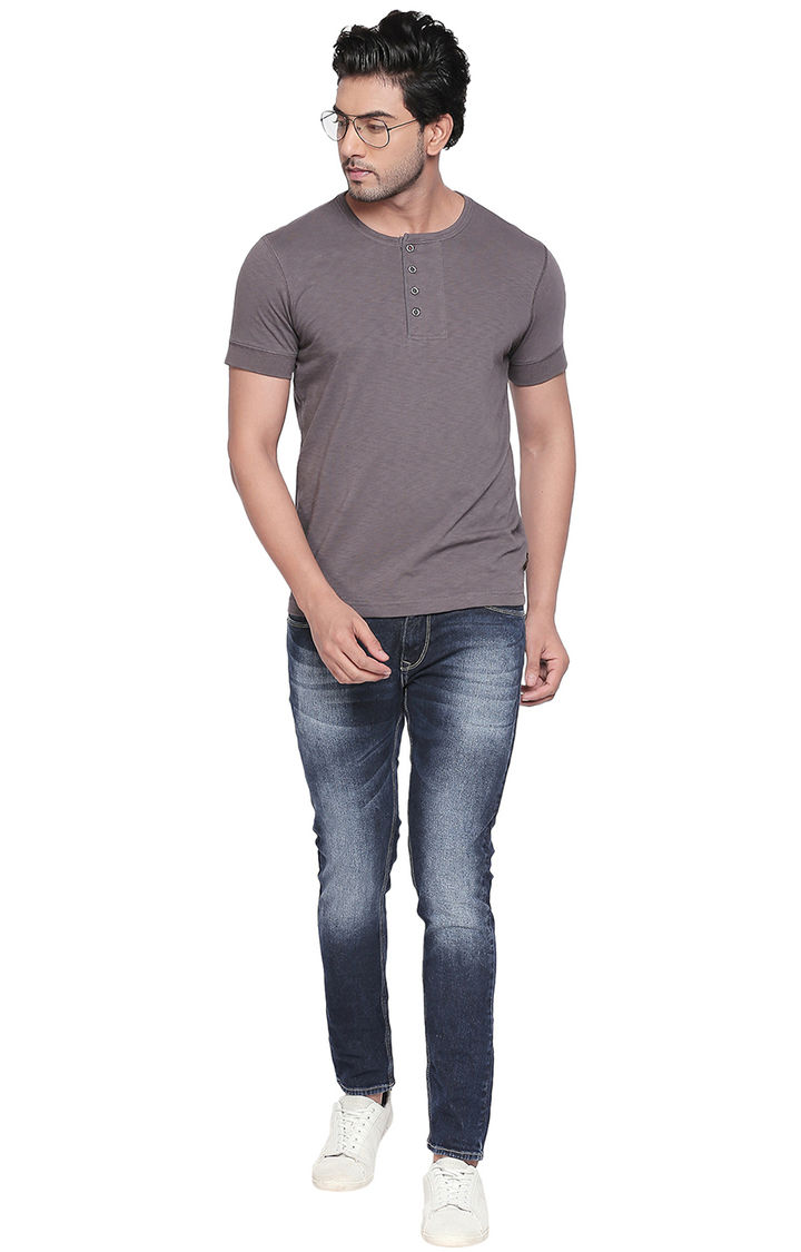 Grey Solid Slim Fit T-Shirts