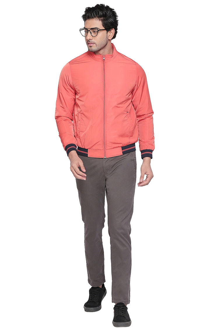 Orange Solid Regular Fit Bomber Jackets