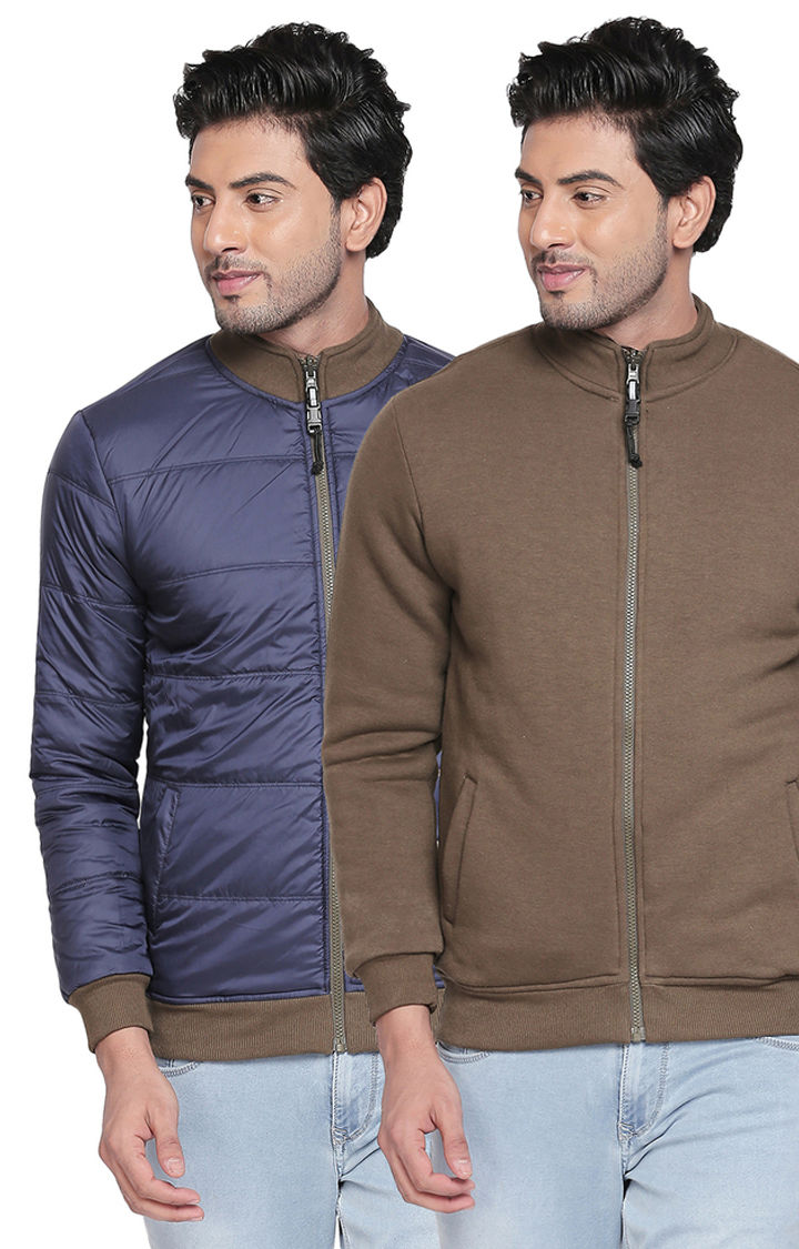Olive & Blue Solid Slim Fit Reversible Bomber Jackets