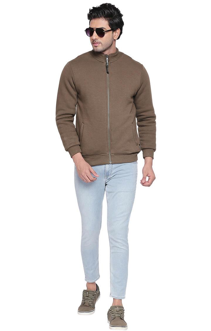 Olive & Blue Solid Slim Fit Reversible Bomber Jackets