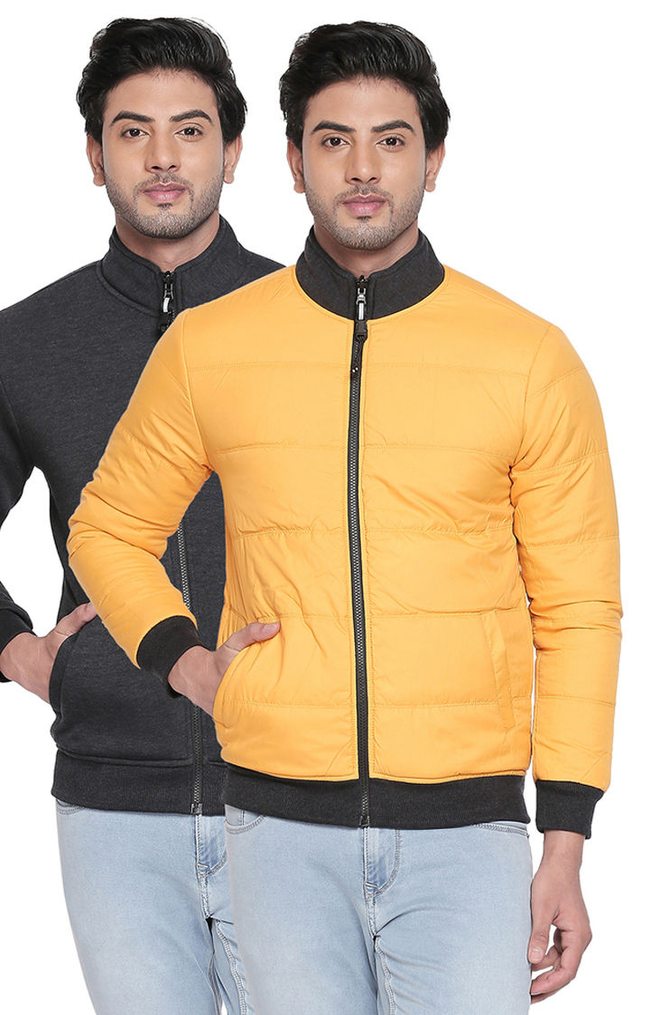 Grey & Yellow Solid Slim Fit Bomber Jackets