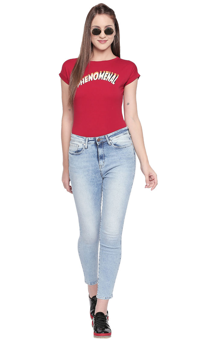 Red Solid Slim Fit T-Shirts