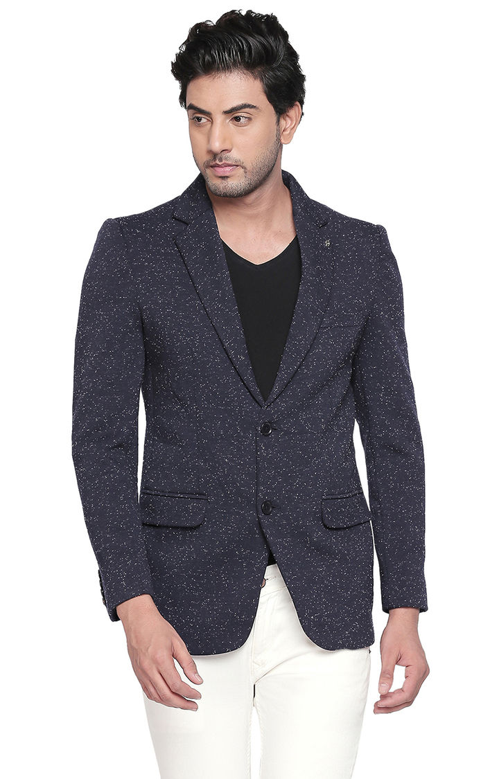 Navy Melange Straight Fit Blazers