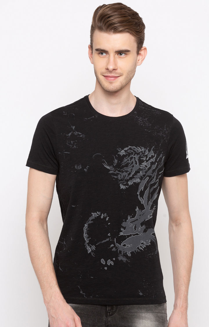 Black Printed Slim Fit T-Shirts
