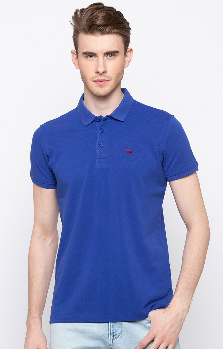 Royal Blue Solid Slim Fit Polo T-Shirt
