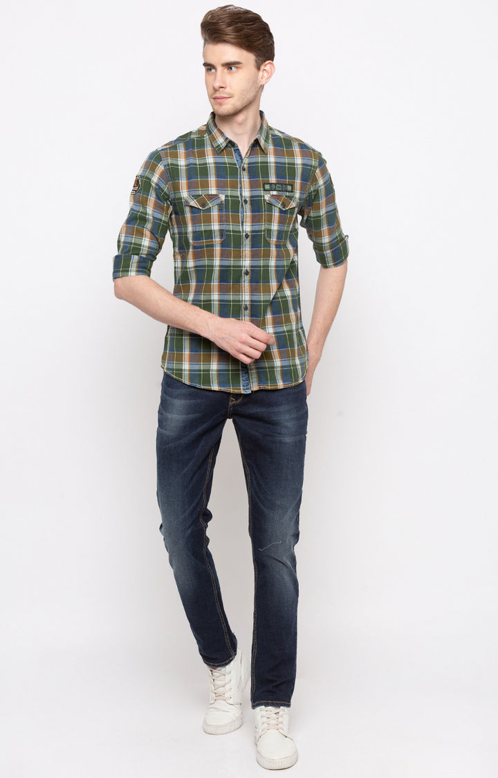Olive & Indigo Checked Slim Fit Casual Shirts