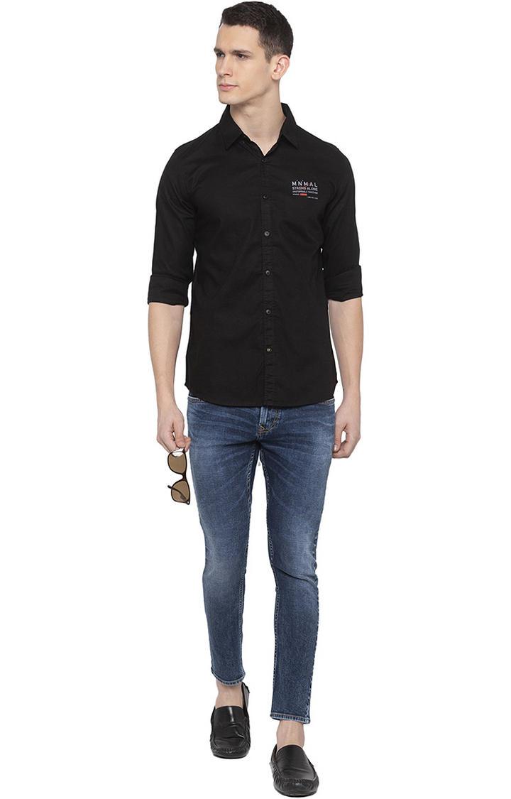 Dark Indigo Solid Slim Thigh Ankle Length Fit Jeans