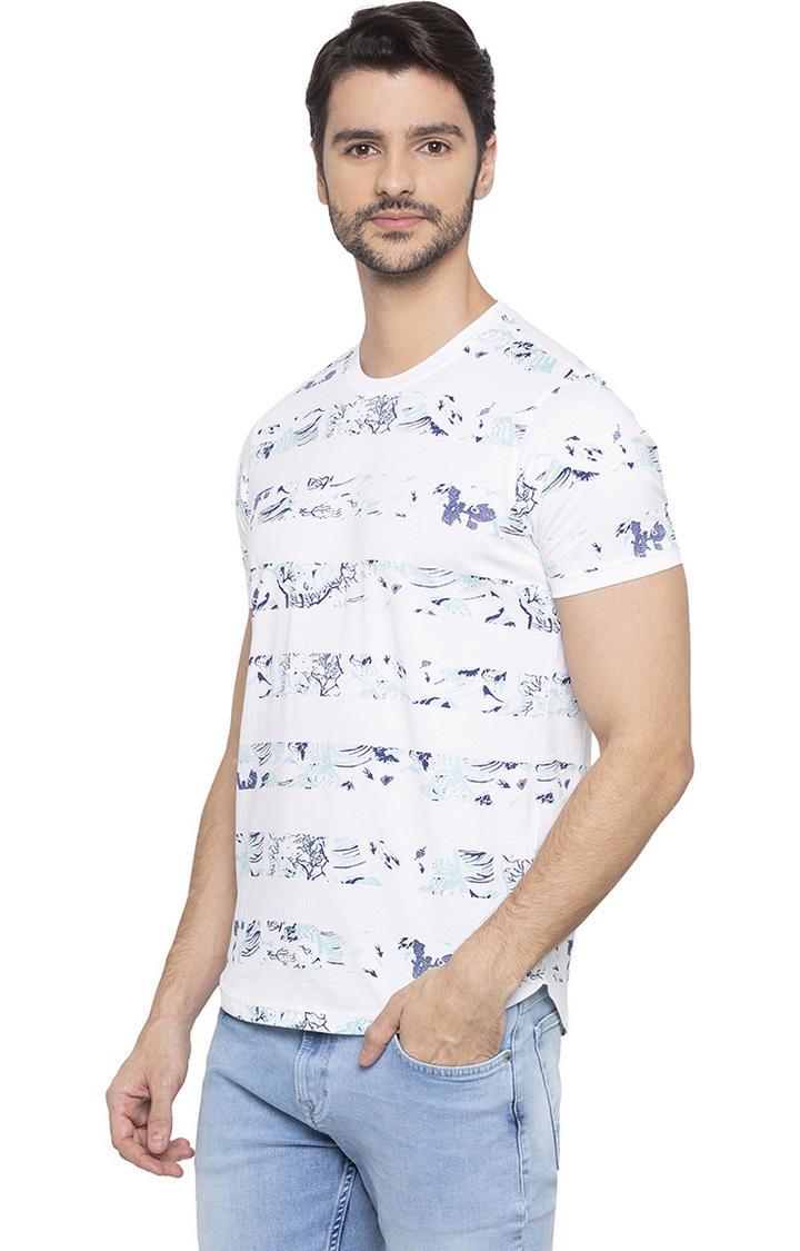 White Printed Slim Fit T-Shirts