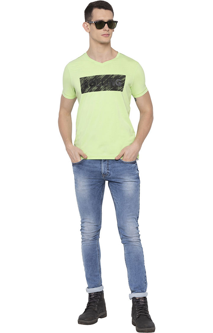 Neon Green Printed Slim Fit T-Shirts
