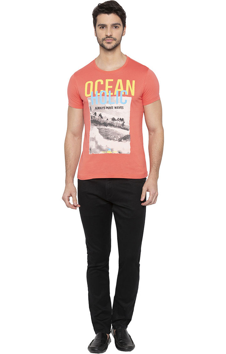 Coral Solid Slim Fit T-Shirts