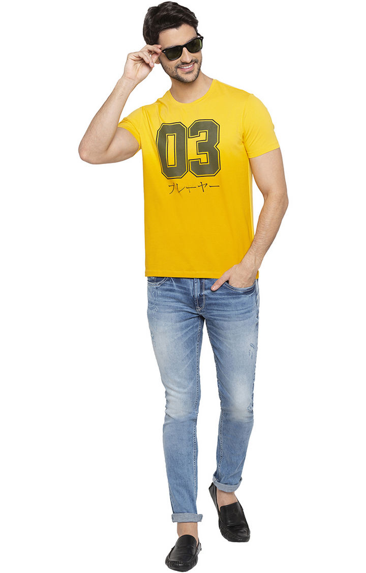 Yellow Printed Slim Fit T-Shirts