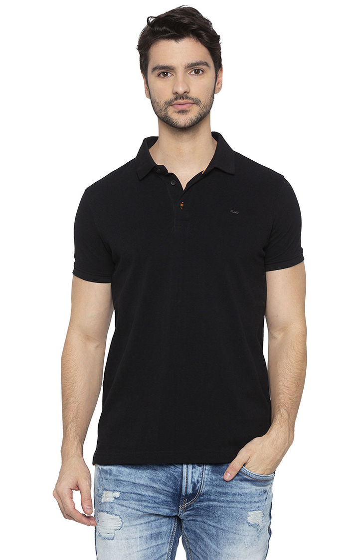 Black Solid Slim Fit Polo T-Shirt