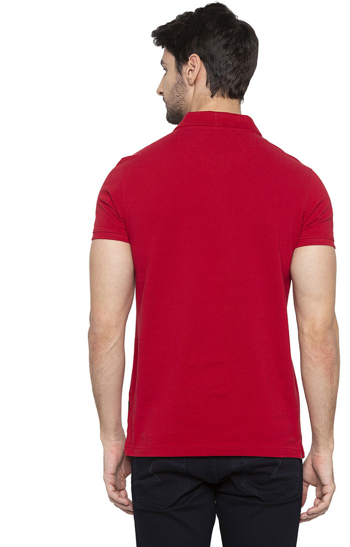 Deep Red Solid Slim Fit Polo T-Shirt