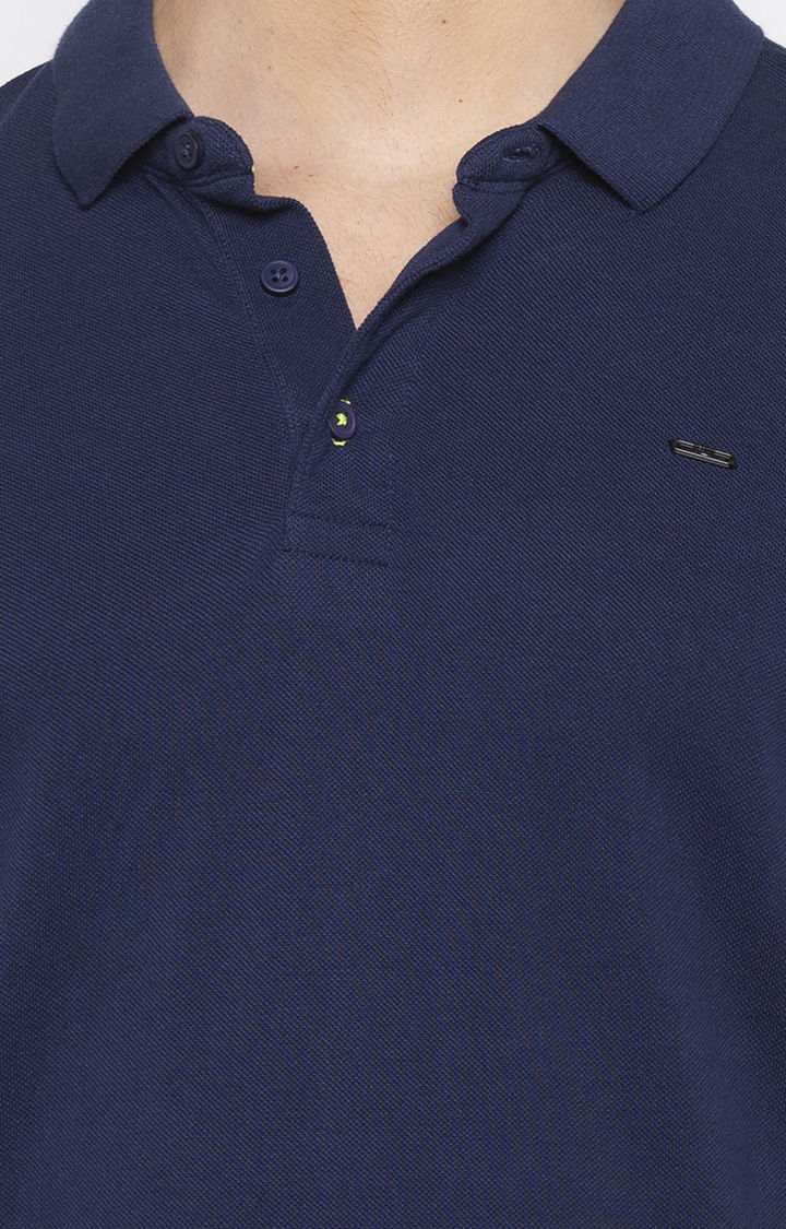 Ink Blue Solid Slim Fit Polo T-Shirt
