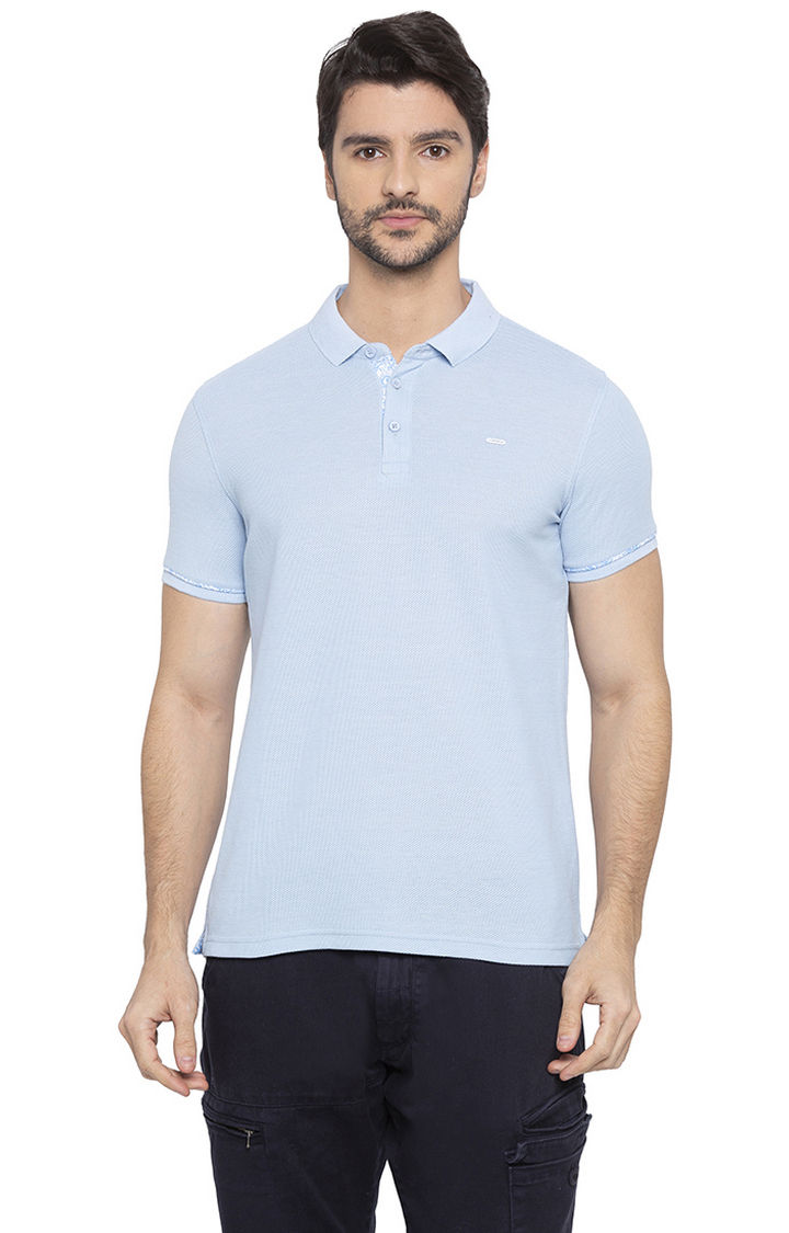 Light Blue Solid Slim Fit Polo T-Shirt
