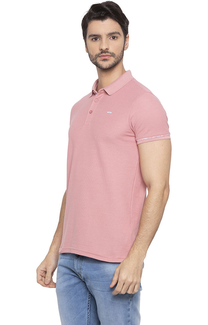 Light Pink Solid Slim Fit Polo T-Shirt