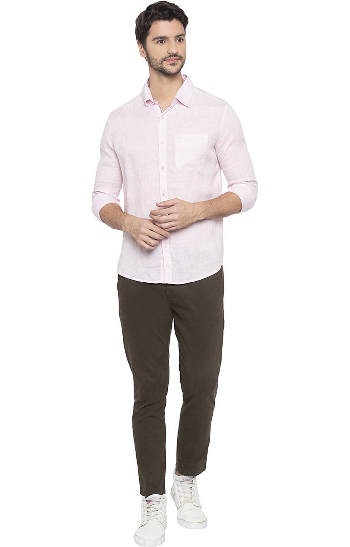 Pink Solid Slim Fit Casual Shirts