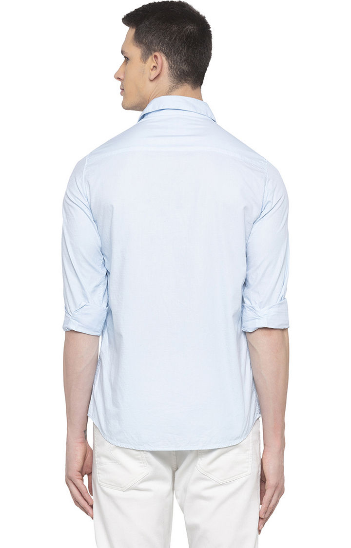 Sky Blue Solid Slim Fit Casual Shirts