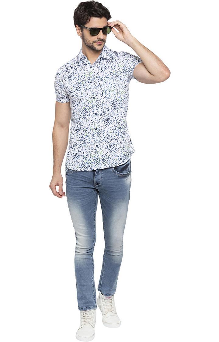 White Printed Slim Fit Casual Shirts