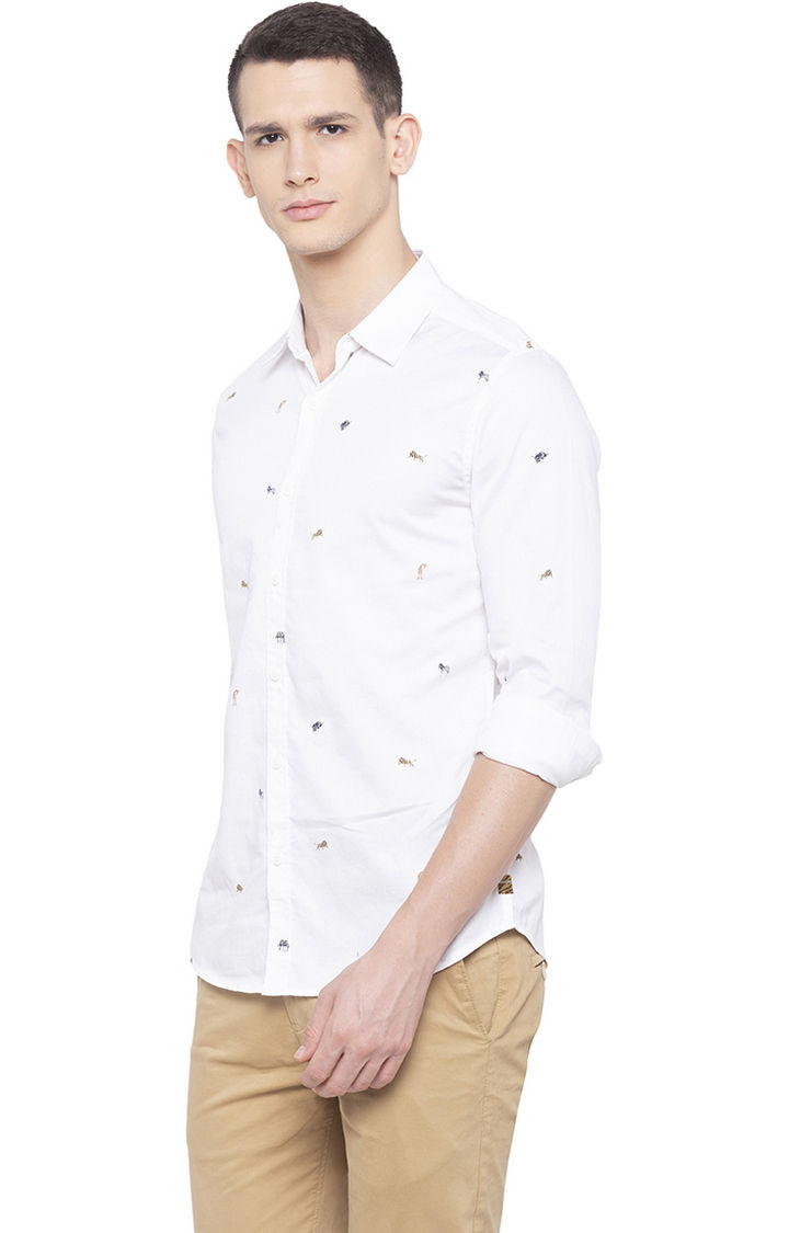 White Printed Slim Fit Casual Shirts