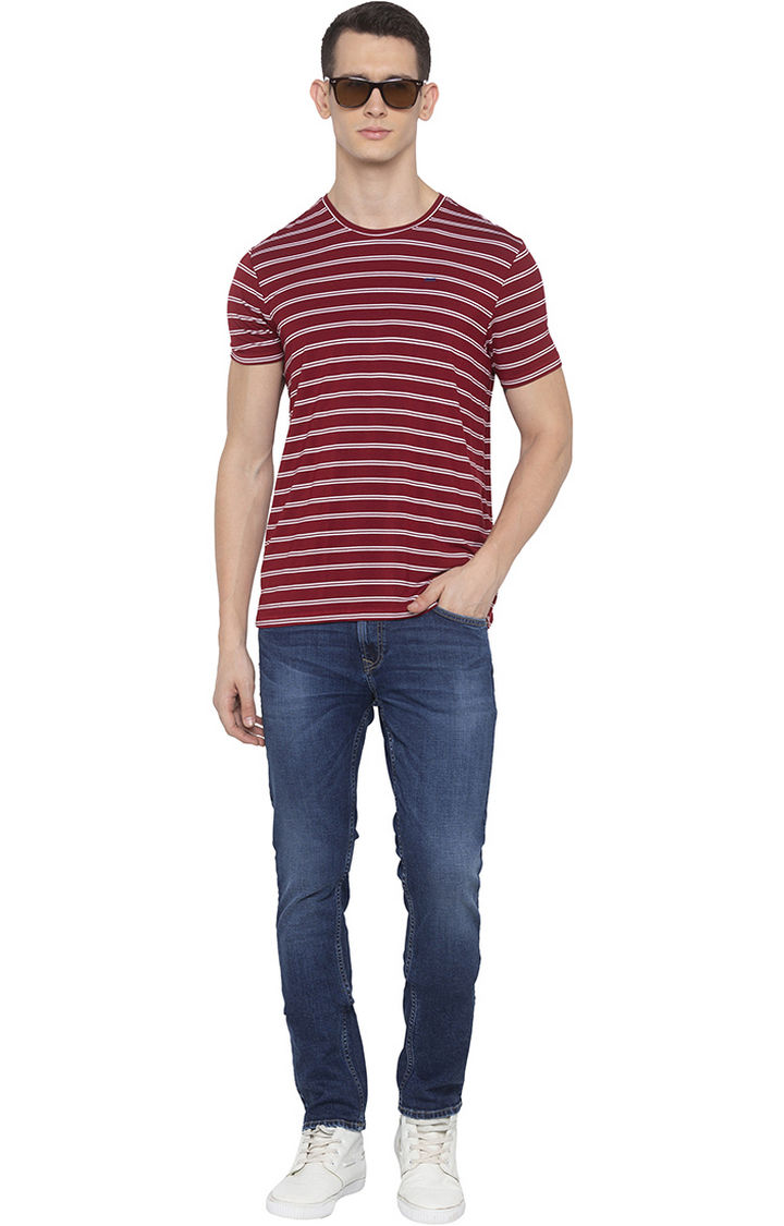 Mid Blue Solid Slim Thigh Narrow Leg Fit Jeans