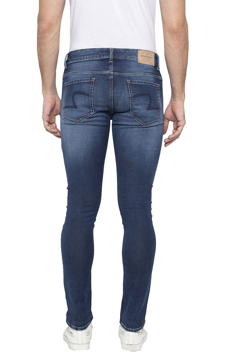 Mid Blue Solid Super Skinny Fit Jeans