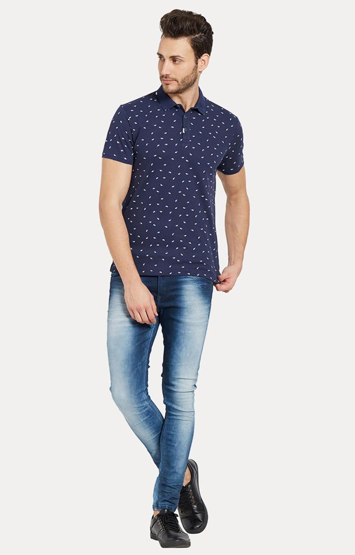 Navy Printed Slim Fit Polo T-Shirt