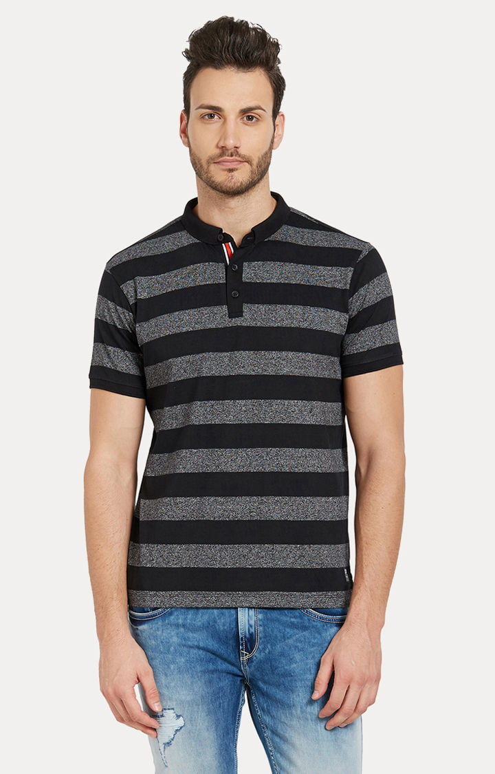 Black Striped Slim Fit Polo T-Shirt