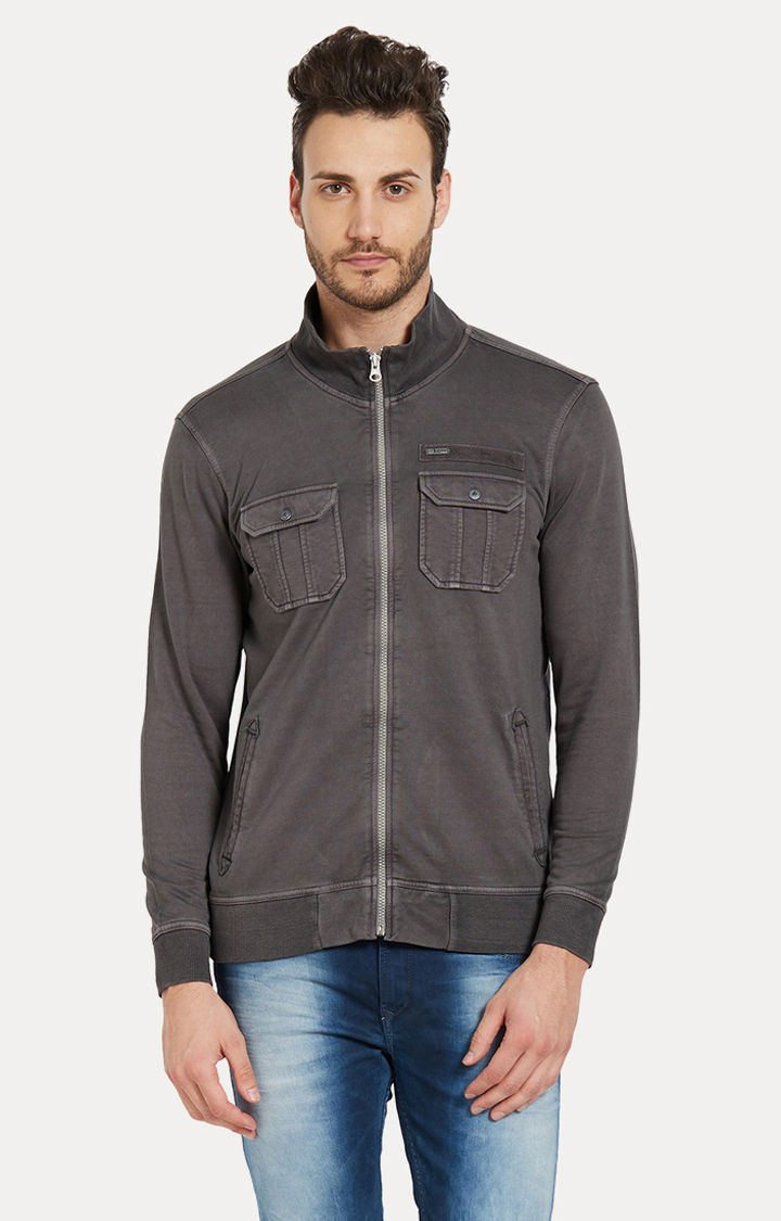 Charcoal Solid Slim Fit Bomber Jackets