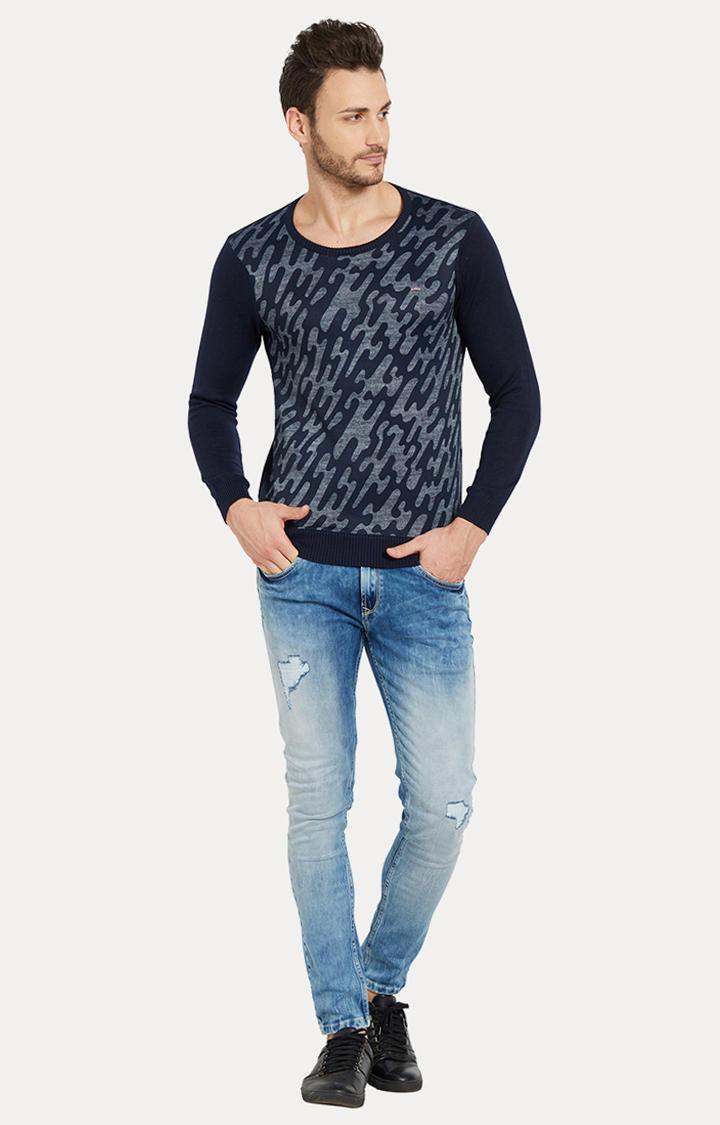 Blue Camouflage Slim Fit Sweatshirts