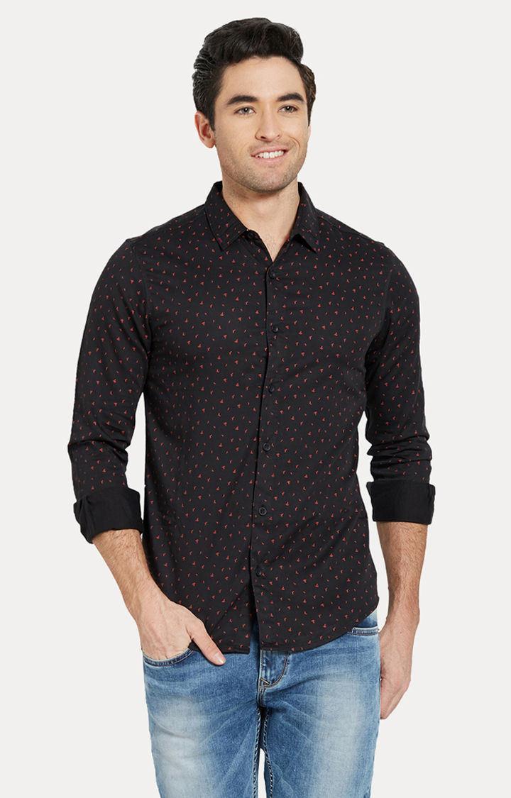 Black Printed Slim Fit Casual Shirts