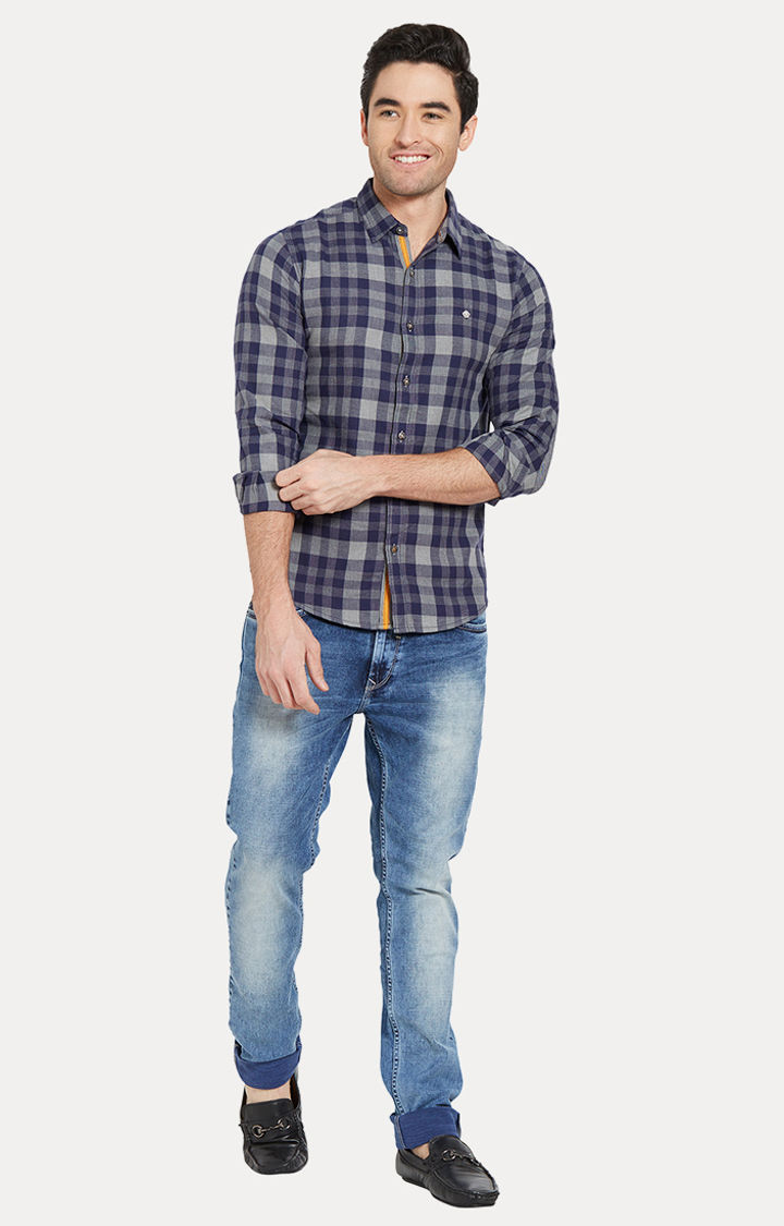Blue & Grey Checked Slim Fit Casual Shirts