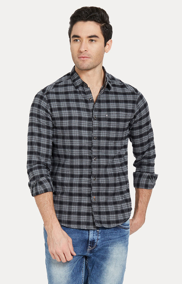 Black & Grey Checked Slim Fit Casual Shirts