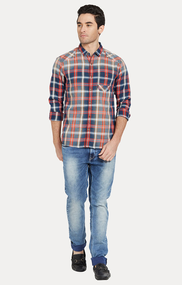 Multicolour Checked Slim Fit Casual Shirts