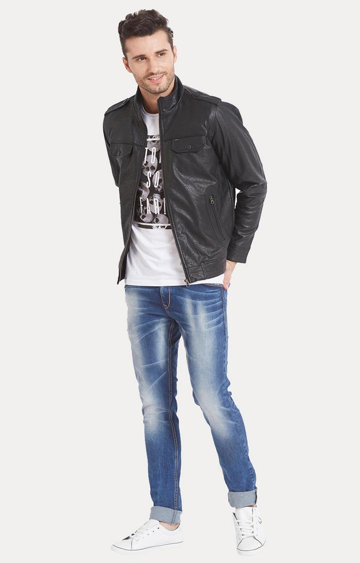 Black Solid Regular Fit Leather Jackets