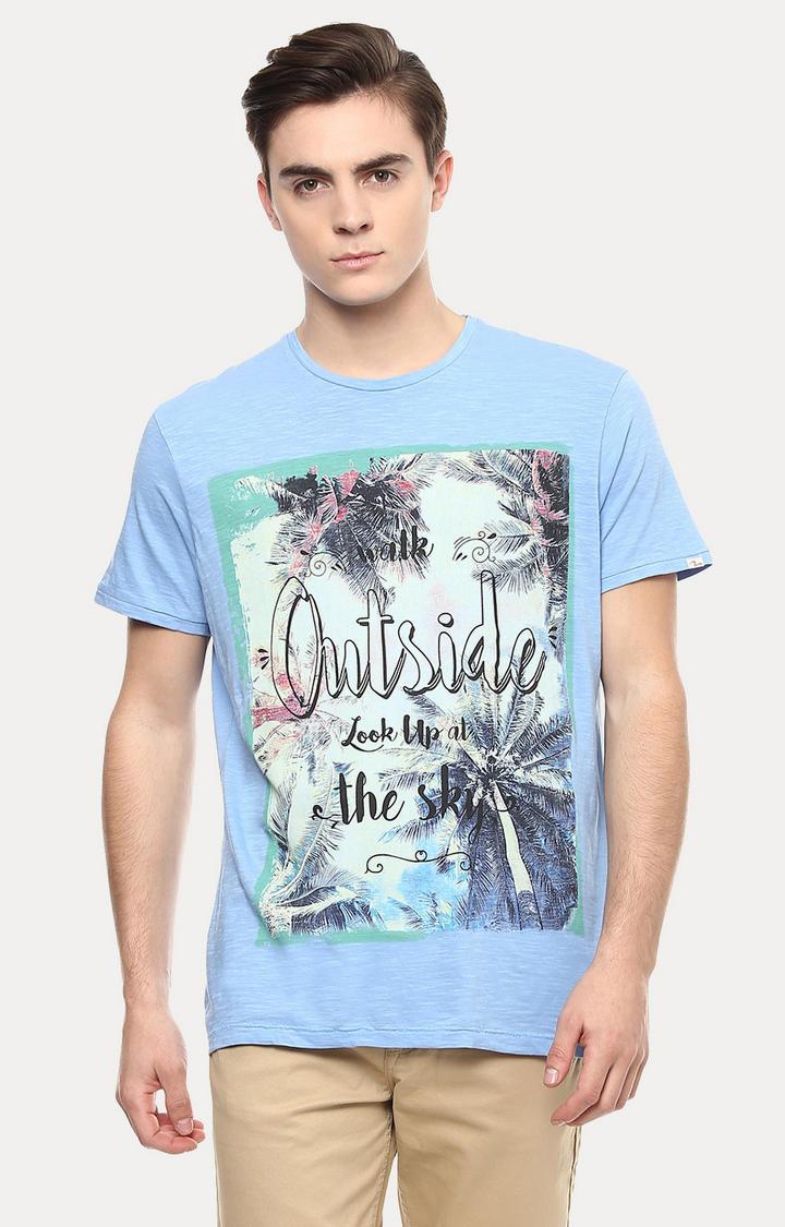 Blue Printed Slim Fit T-Shirts