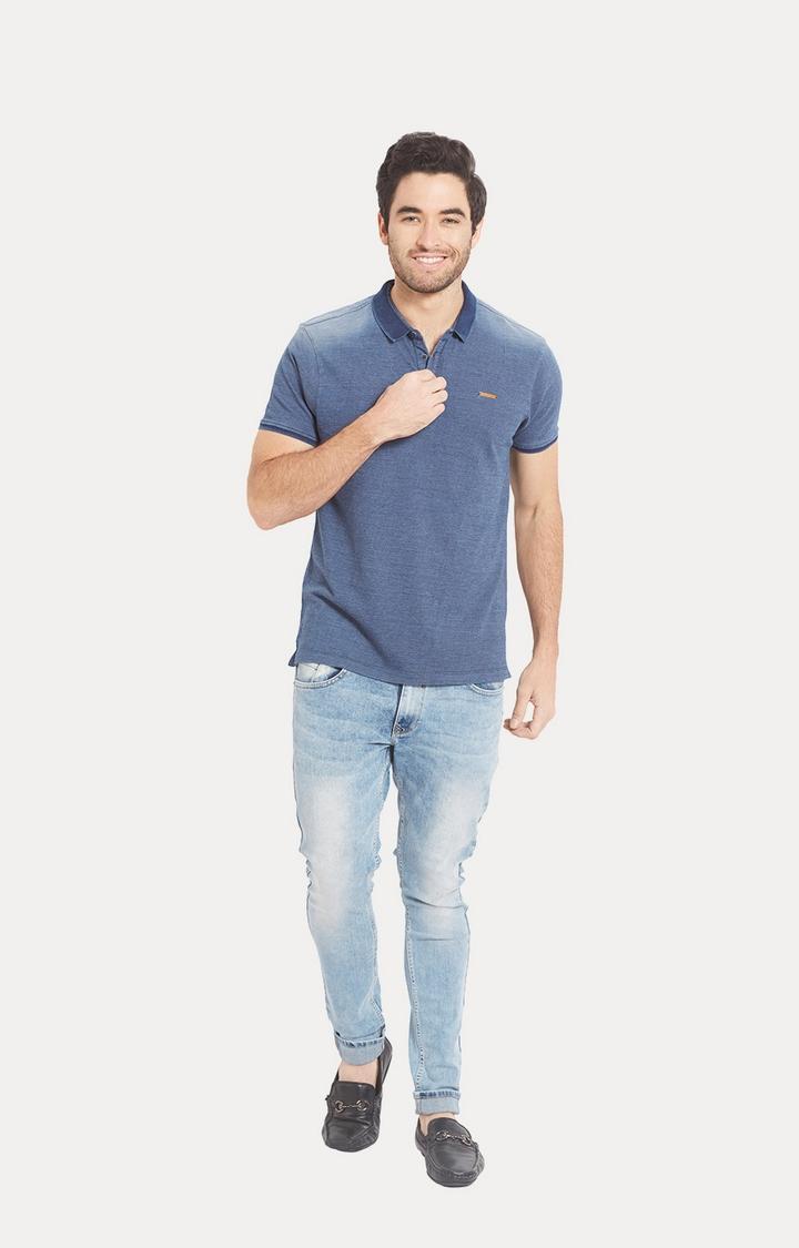 Blue Melange Slim Fit Polo T-Shirt