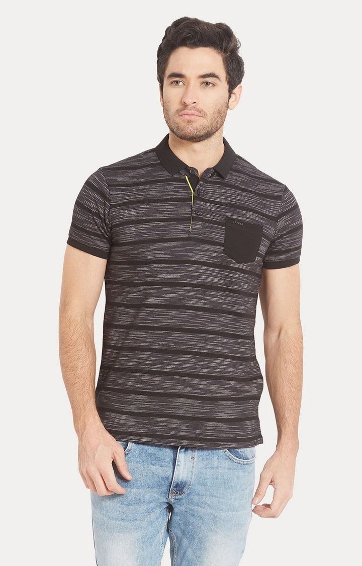Brown Striped Slim Fit Polo T-Shirt