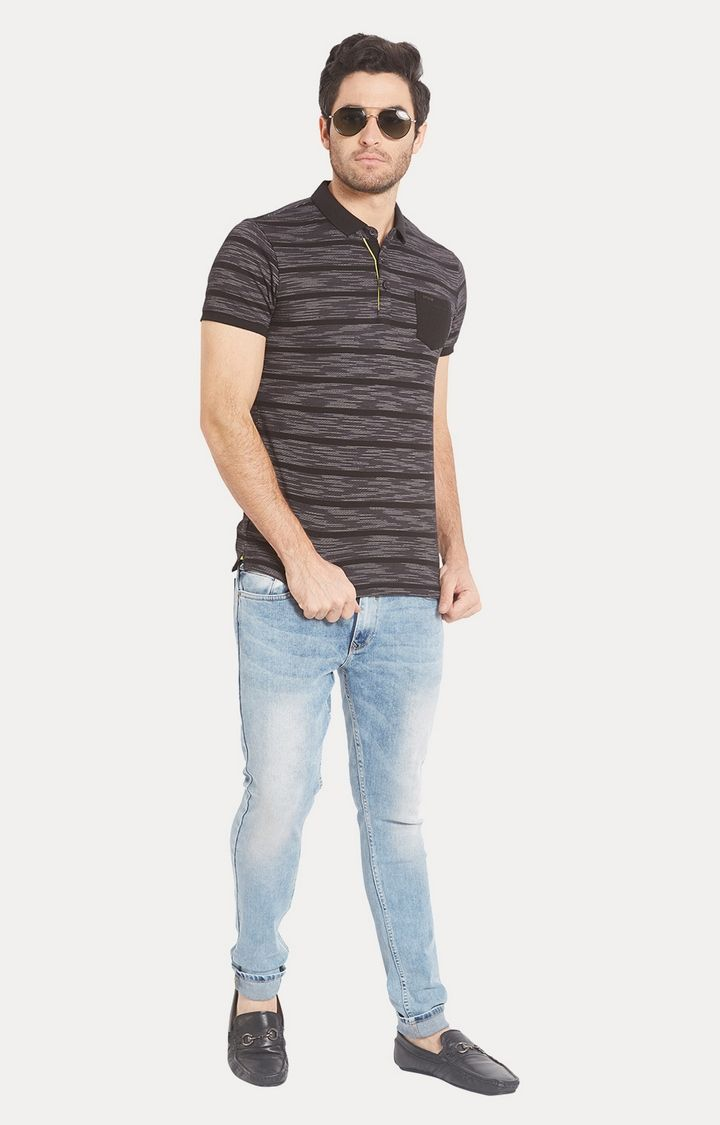 Brown Striped Slim Fit Polo T-Shirt