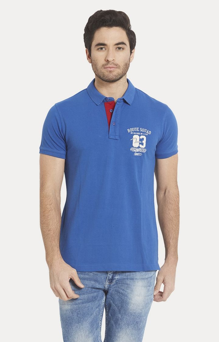 Blue Solid Slim Fit Polo T-Shirt