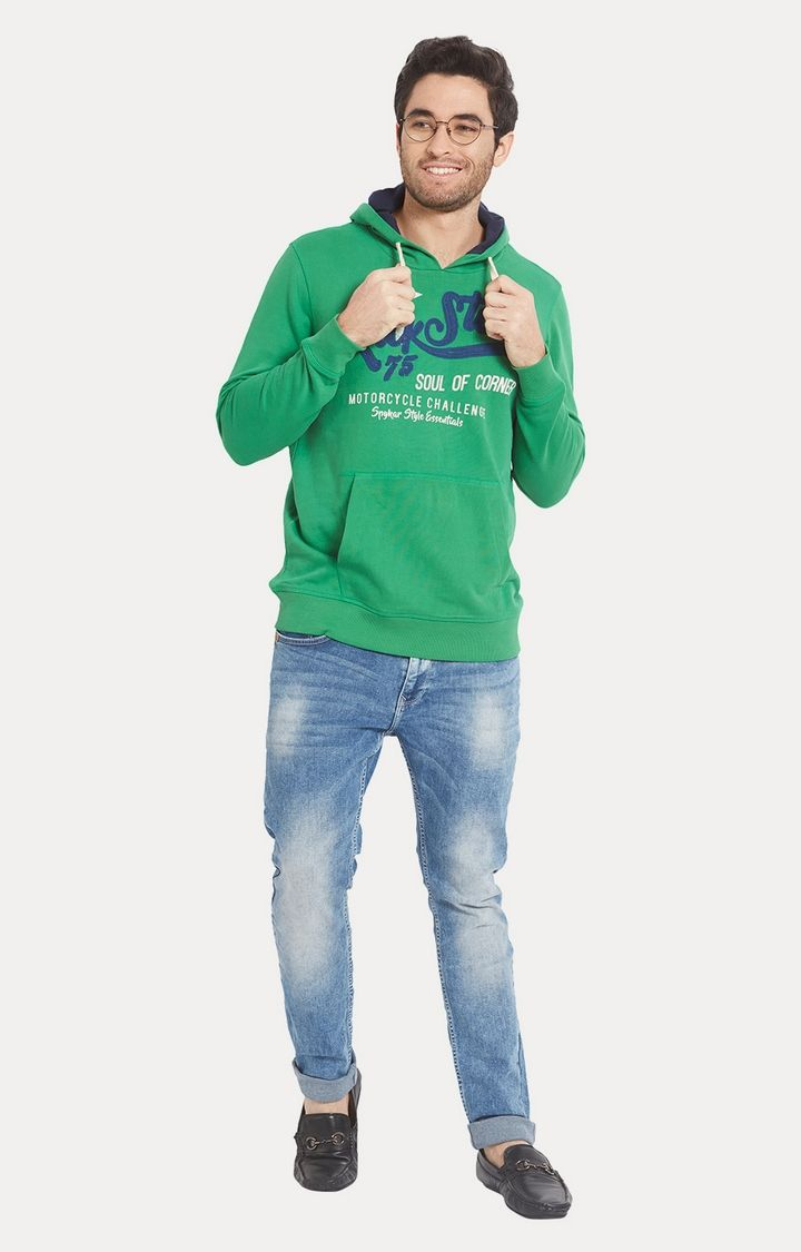 Green Printed Slim Fit Hoodies