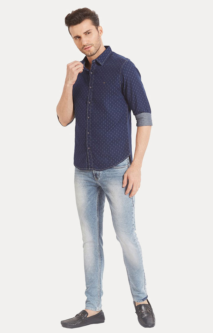 Blue Printed Slim Fit Casual Shirts