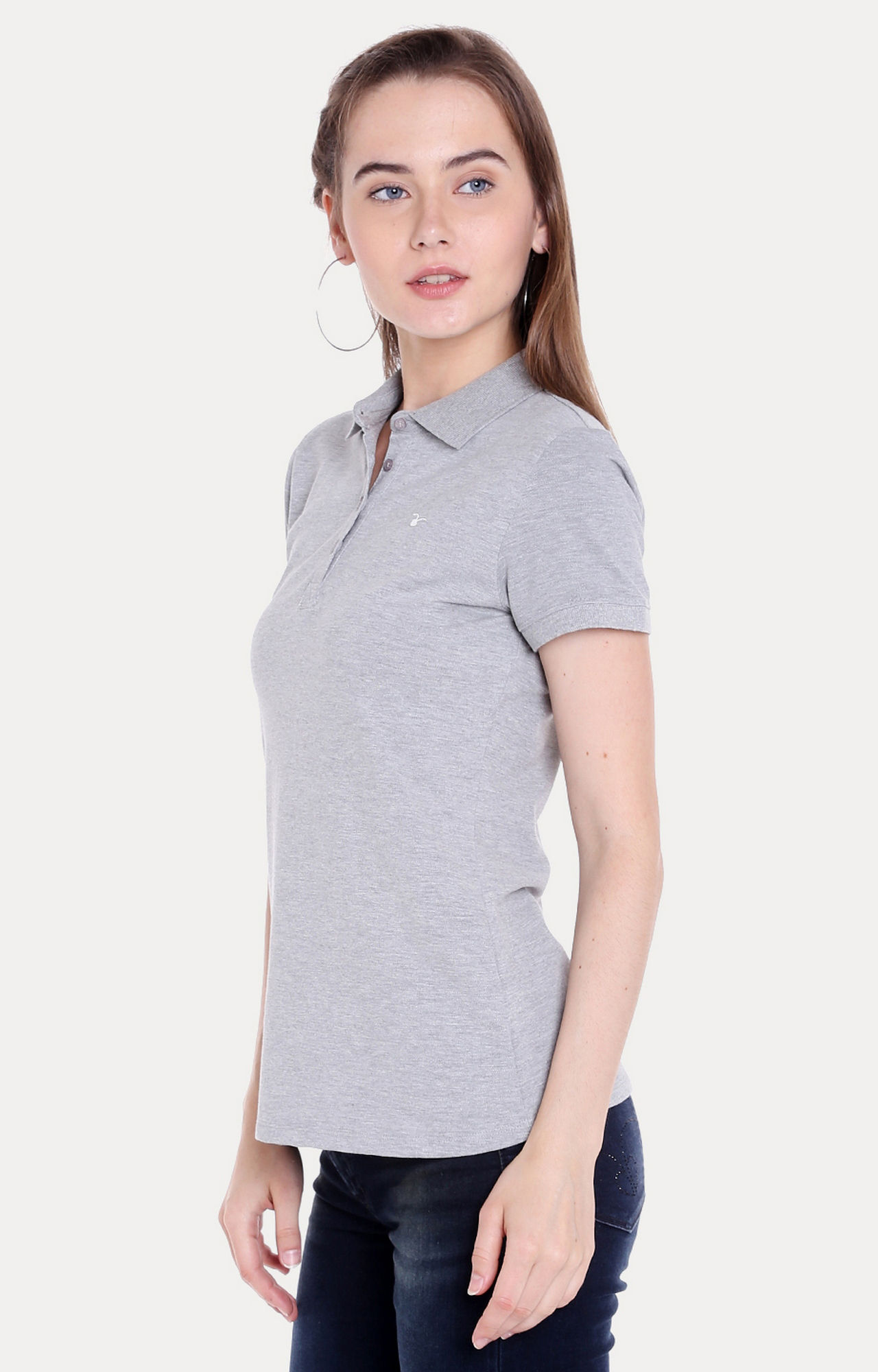 Grey Melange Regular Fit T-Shirts