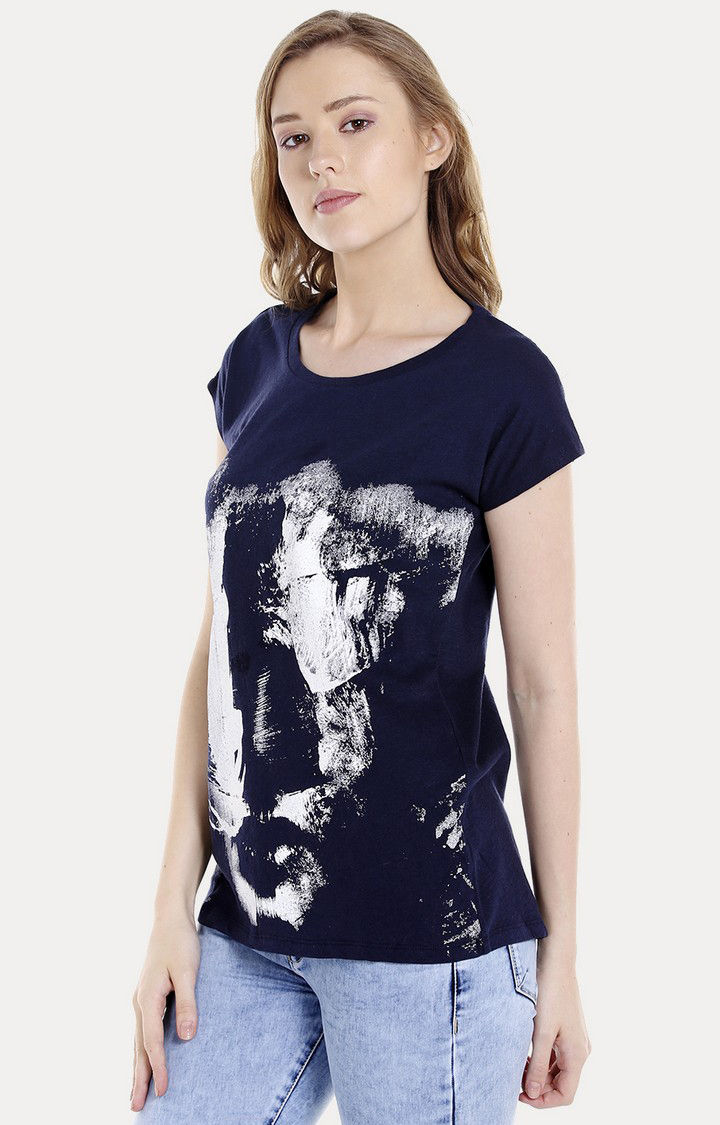 Navy Blue Printed Regular Fit T-Shirts