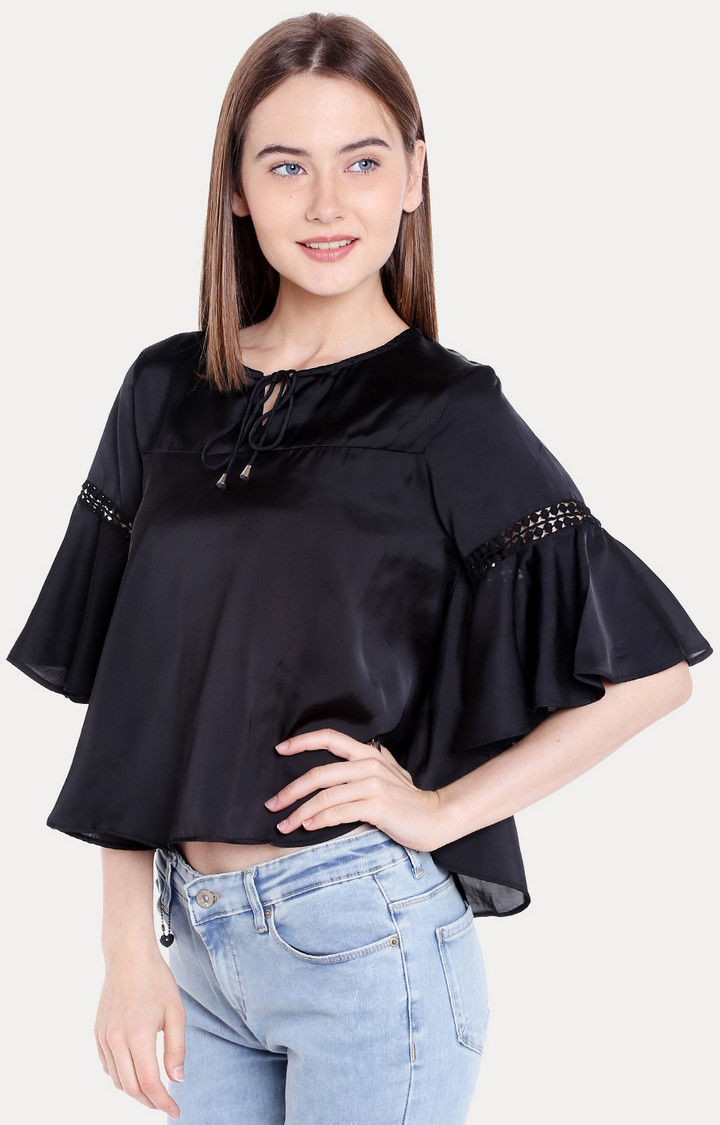 Black Solid Regular Fit Blouson Top